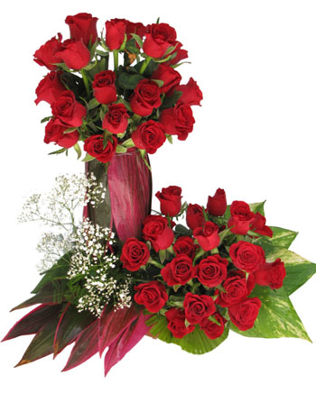 40 Red Roses with greens in a basket