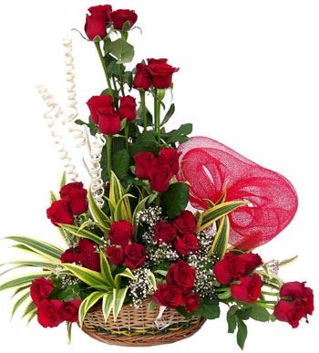 15 Red Roses in Basket