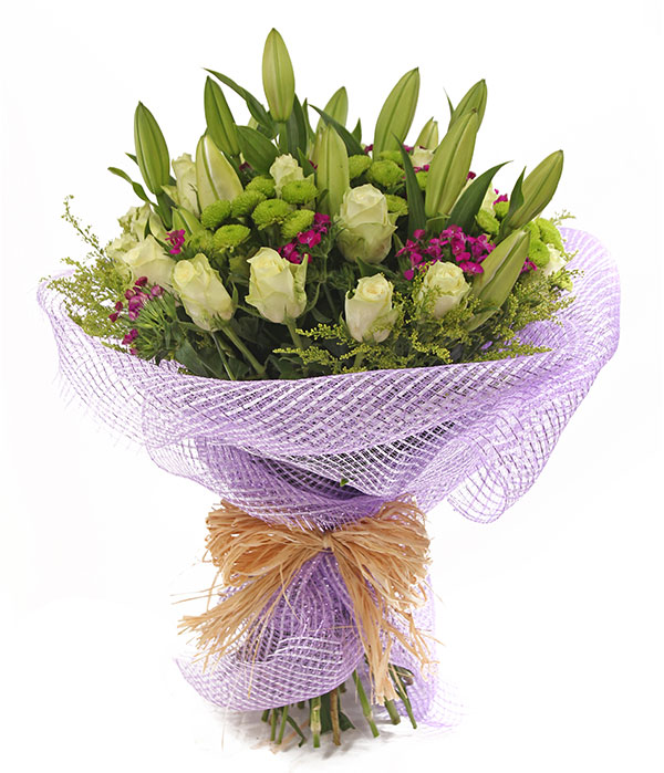 Lily Bouquet With white Rose