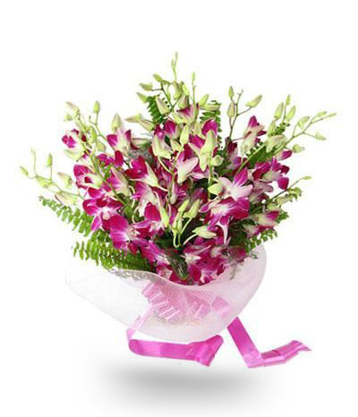 Orchids Bouquet with Purple Ribbon